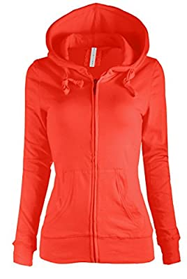 ViiViiKay Womens Casual Plain or Thermal Knitted Solid Zip-Up Hoodie Jacket RED S