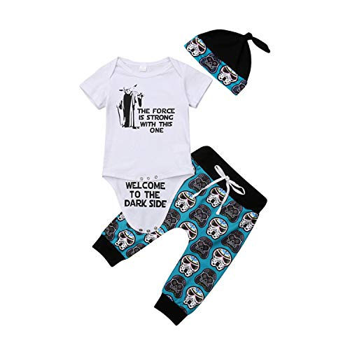 (Newborn Baby Girl Clothes Short Sleeve Cotton Bodysuit Tops Skull Print Long Pant Hat 3PCS Outfits Baby Clothing Set(9M,as picture))