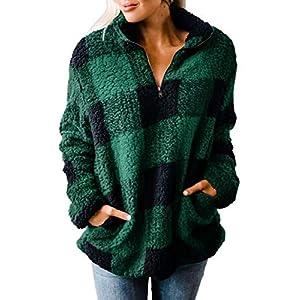ZESICA Women's Autumn Winter Long Sleeve Zipper Sherpa Fleece Sweatshirt Pullover Jacket Coat