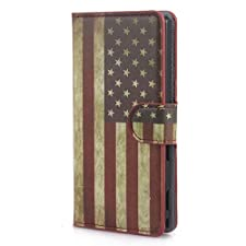 PASONOMI U.S American Flag Wallet Stand Leather Case with Card Slot for Sony Xperia M2 D