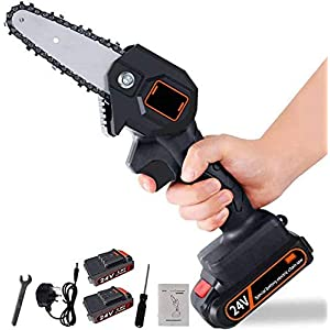 Crrs Handheld Cordless Chainsaw with Charger and 2 Battery | Mini 4-Inch Cordless Electric Protable Chainsaw, Adjustable…
