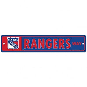 "NHL New York Rangers 27875010 Street/Zone Sign, 4.5"" x 19"""