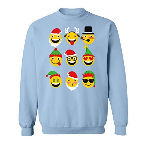 Christmas Animated Emoji Faces Sweatshirts for Women and Men Unisex Sweaters(Light Blue,Medium)]()