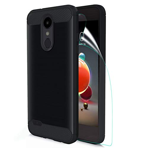 (LG Aristo 2 case/LG Tribute Dynasty/Aristo 3/Aristo 3+/Tribute Empire/K8S/Aristo 2 Plus/Fortune 2/Zone 4/k8/Risio 3/k8+ W HD Screen Protector Carbon Fiber Soft TPU Brushed Texture Rubber case, Black)