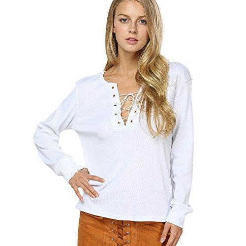 Kcatsy Womens Casual Long Sleeve Plunging Neck Criss Cross Bandage Blouse Sweatshirt ()