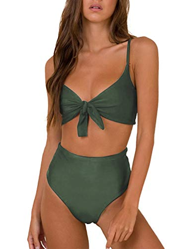 Blooming Jelly Womens High Waisted Bikini Set Tie Knot High Rise Two Piece Swimsuits Bathing Suits (x-Small, Army Green)