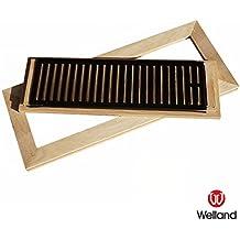 WELLAND (TM) Hardwood Flush Mount Floor Register Vent Unfinished with Damper, 4 inch x 14 inch, White Oak