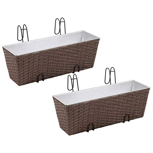 (Canditree 2 pcs Balcony Hanging Rattan Planter, Flowers Plants Hanging Basket for Garden Home 19.7 x 6.7 x 6.7 inch, Brown)