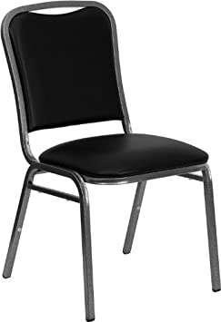Flash Furniture HERCULES Series Stacking Banquet Chair in Black Vinyl – Silver Vein Frame
