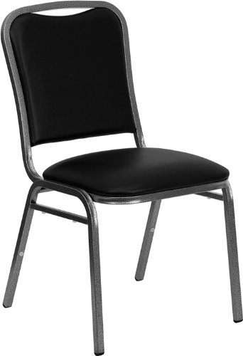 Flash Furniture HERCULES Series Stacking Banquet Chair in Black Vinyl - Silver Vein Frame