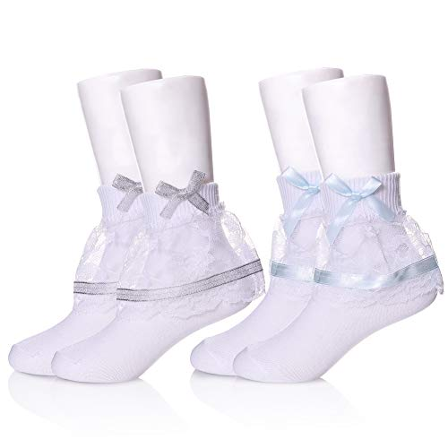 (YEBING Girls Ruffle Lack Socks 2 Pair Pretty Girls Princess Dress Socks with Lace and Ribbon (1-3 Year Old, 2 Pack Bow Light Blue & Silvery))
