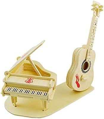 LINGNA Guitarra de Piano 3D Rompecabezas de Madera Modelo de Corte ...