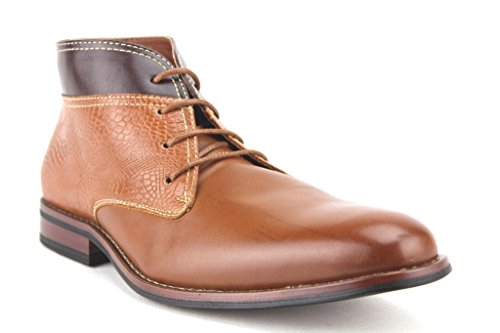 Ferro Aldo Men's 806022 Lace Up Ankle High Two Tone Chukka Dress Boots (9.5 M US, Brown)