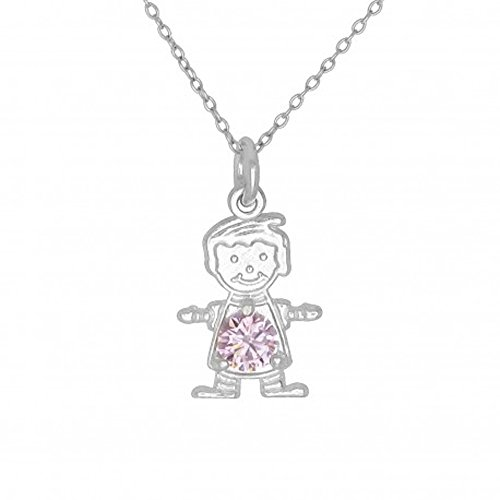 MCS Fashion Jewelry Collection Sterling Silver October Birthstone Boy Charm Necklace - 18 to 20 Inch Adjustable Chain