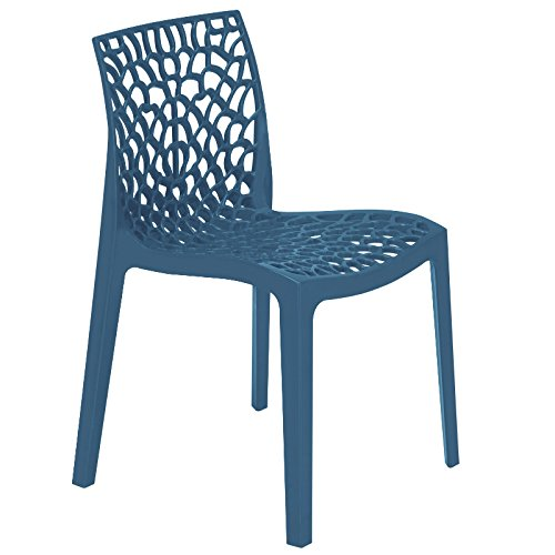 Blue Polypropylene Chair - Reinforced Plastic Chair for Inside and Outside - Seat for commercial and home use BrackenStyle