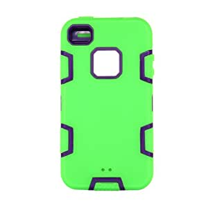 VKING(TM) Robot Series Hybrid Case for Apple iPhone 4 4S 4G+[Screen Protector]+[Free Stylus]+[Cleaning Cloth] Green Purple VK