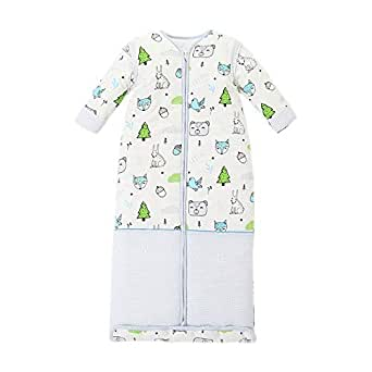 KINDOYO Baby Wearable Sleeping Bag - Cute Printed Breathable Removable Sleevees Unisex Child Suitable Four Season Sleep Sack, Blue A, US 110=Tag 120