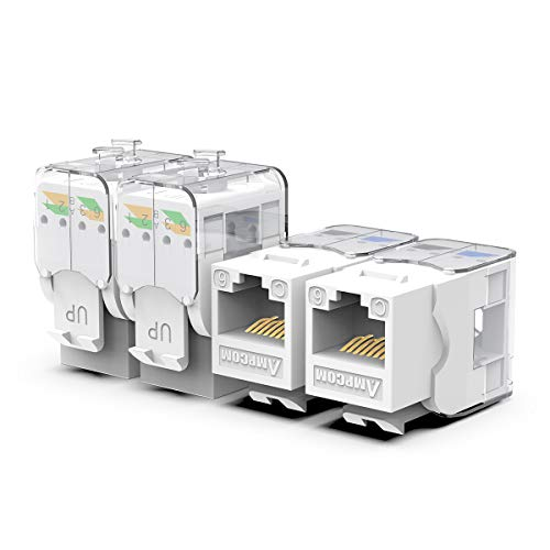 AMPCOM CAT6 Tool-Less RJ45 UTP Keystone Jack, No Punch-Down Tool Required Module Coupler -10 Pack White