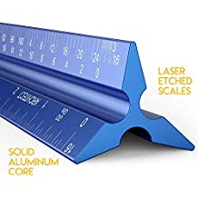 Architectural Scale Ruler, Metal Ruler of Solid Aluminum, Great Drafting Tools with Architect Scale, Laser-Etched Ruler 12 inch Triangle for Blueprint (Imperial)