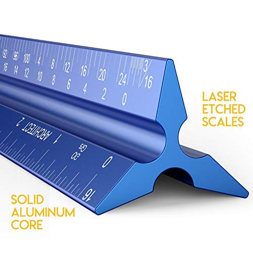 (Architectural Scale Ruler, Metal Ruler of Solid Aluminum, Great Drafting Tools with Architect Scale, Laser-Etched Ruler 12 inch Triangle for Blueprint (Imperial))
