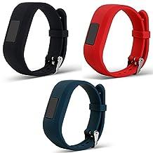 ECSEM Replacement Bands and Straps for Garmin vivofit JR & vivofit 3, [fits 6~8.5 inch wrists], Black/Slate/Red