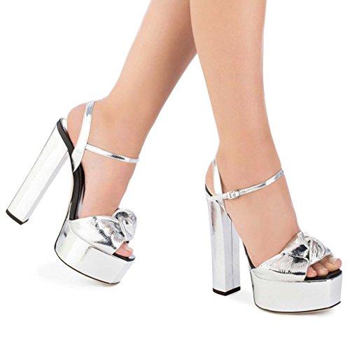 8 Del Sandali Da Altezza Silver Con Impermeabile Scarpe Grandi Da Donna Sposa Dimensioni Scarpe LFF Piattaforma Scarpe Fibbia Toe Tacco Spesso Open 37 Da Discoteca Cm FF Da Appuntito Pranzo F5fS0