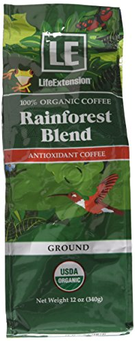 Life Extension Rainforest Blend (Ground) Coffee, Natural, 12 - Extension Antioxidant