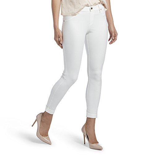 (HUE Women's Plus Size Cuffed Essential Denim Skimmer Leggings, White, 3X)