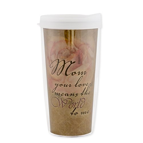 Mom Your Love Means the World To Me Rose 16 Oz Tumbler Mug with Lid (Me Marry Christmas For Review)