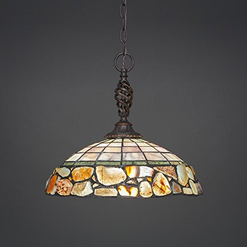 Pendant with Cobblestone Glass Shade (Cobblestone Two Light Pendant)