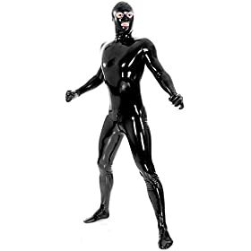 - 41QcstQJyrL - Men's Black Fullbody Latex Rubber Zentai Catsuit Eyes Mouth Open