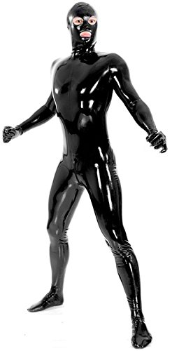 VsvoLatex Men's Black Fullbody Latex Rubber Zentai Catsuit Eyes Mouth Open (X-Large, Black) -