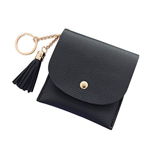 Simple Solid Zipper Hasp Design Ladies Wallets (Black) - 3