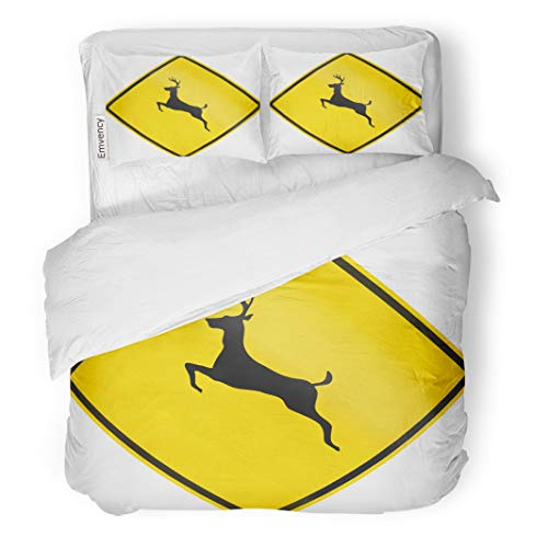 Semtomn Decor Duvet Cover Set King Size Canadian Road Warning Sign Deer Crossing This is 3 Piece Brushed Microfiber Fabric Print Bedding Set Cover ()