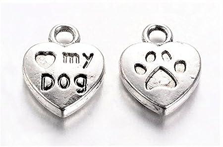 10 x Tibetan Silver LOVE MY CAT PAW PRINT HEART Charms Pendants Beads