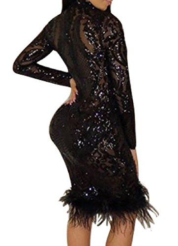 Black V Glitter Women Sequin Coolred Tailoring Solid Deep Color Neck Slim Dress PZW4A