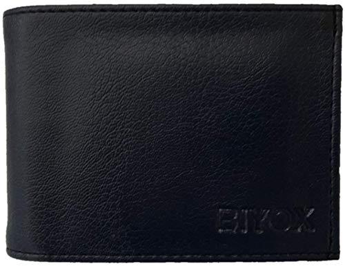 BIYOX Genuine Leather Slim Stylish RFID Blocking Men Wallet. (Panter Black)