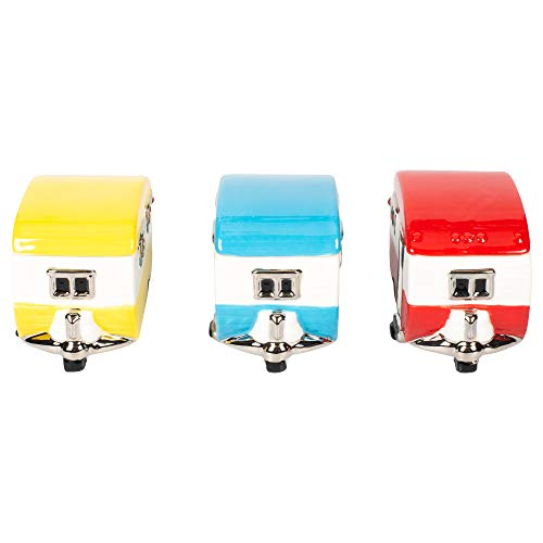One Hundred 80 Degrees Set of 3 Assorted 3.75 Inch Retro Camper Trailer Ceramic Trinket Boxes ()