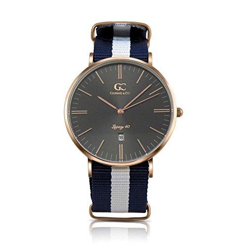 Gelfand & Co. Men's Minimalist Watch Blue/White NATO Strap Moore 40mm Rose Gold Gray Metallic Dial
