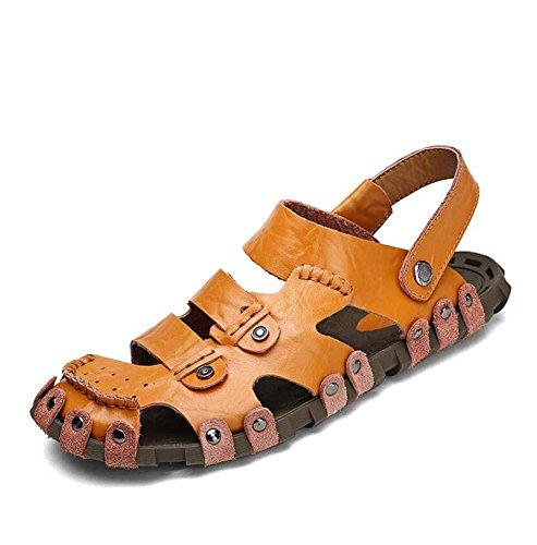 Onfly Hombres Chicos Dedo del pie cerrado Cuero Casual Sandalias Zapatillas Antideslizante Respirable Para caminar Al aire libre Sandalias Zapatos de agua Zapatillas de deporte ocasionales Playa Zapat Brown