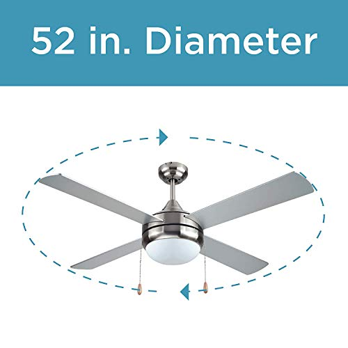 Black & Decker 52 Inch 4 Blade Ceiling Fan with Remote, Silver Finish (2 Pack) ()