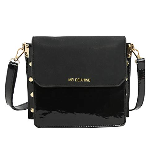 Tote Nylon Studded - NXDA Women's Scrub Bag Wild Chain Studded Bag Fashion Crossbody Bag Designed for Women's Backpack Wallet Casual Tote Bag (Black)