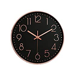 12 Inch Rose Gold Wall Clock Digital Scale Quartz Watch for Kids Rooms Bedroom Living Room Home Decoration,Black Dial Rose Gold,12 Inch