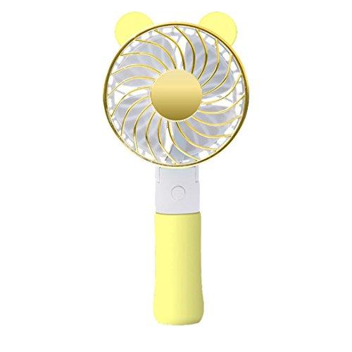 Handheld Fan, No Pedestal Handheld USB Bear Ear Fan Personal Cooling Rechargeable Portable (Yellow) by FreshZone