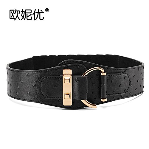 ZHANGYONG Women Varnished Leather Elastic Waist Belt Tension and Stylish Decorated Wild DownCoat Leather Wide Girdles Female Black, Black Ostrich Matte Canvas