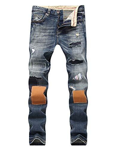 Versaces Hombres Corte Ajustado Jeans Heterosexual Parche Lavado Agotado Cintura Media Ocio Pantalones Color 1
