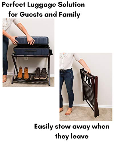 BirdRock Home Luggage Rack Stand with Shoe Shelf   Compact Folding Design   Bedroom Guest Room Suitcase Home Organization   Stable Durable Suitcases Racks Foldable Baggage Holder   Bamboo Walnut Color