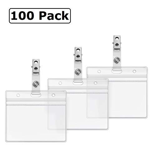Horizontal ID Badge Holder and Metal Clips with Vinyl Strap Clear Plastic Name Tag Holders Waterproof PVC ID Card Holder by ZHEGUI(100 Pack, Horizontal 2.3X3.5)