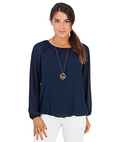 KRISP Damen Langarm Shirt Chiffon Bluse_(7504-NVY-ML)