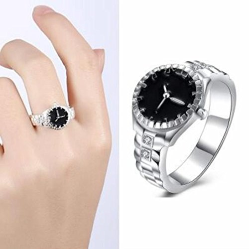 Mens Womens Girls Creative Finger Ring Watch Cuekondy Analog Quartz Watch Statement Engagement Wedding Anniversary Ring (Silver, 8) from Cuekondy_Jewelry